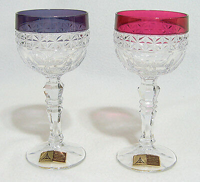 Echt Bleikristall Annahutte W Germany Crystal WINE HOCK STEMS - Set of 2