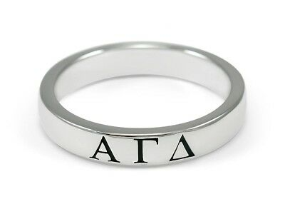Alpha Gamma Delta sterling silver ring with black enamel, NEW!