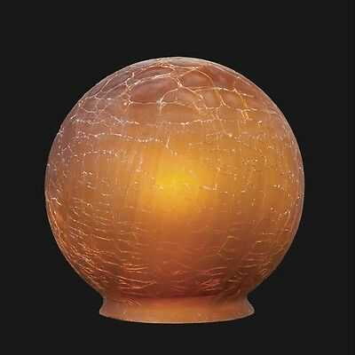 "BP  3 1/4"" fitter, Amber Crackle Glass Art Deco Ball Globe or Lamp Shade"