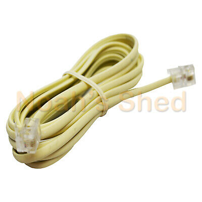 RJ12 Telephone ADSL Modem Modular Line Patch Flat Wall Cord Cable 6P4C 2M IVORY