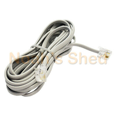 RJ12 Telephone ADSL Modem Modular Line Patch Flat Cord Cable 6P4C 3M LIGHT GREY