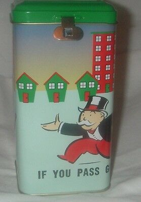 MONOPOLY HASBRO  UNCLE PENNYBAGS TIN BANK WITH PADLOCK AND KEY NEW