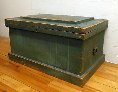 Antique Primitive Pine Lift Top Trunk Painted Green Tool Chest Country Folk
