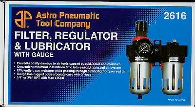 """CONTROL UNIT AIR LINE 3/8"""" Filter, Regulator and Lubricator with Gauge AST2616"""
