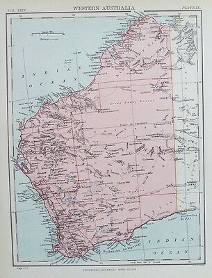 OLD ANTIQUE MAP WESTERN AUSTRALIA c1880's by W & A K JOHNSTON 19th CENTURY