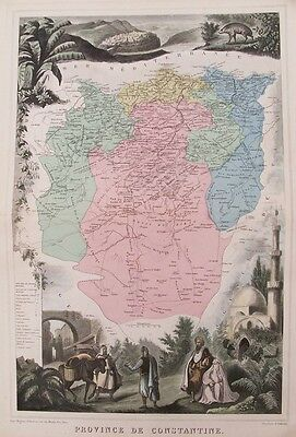 OLD ANTIQUE MAP ALGERIA CONSTANTINE by MIGEON VUILLEMIN c1870 19th C ENGRAVING
