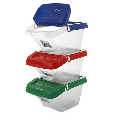 3 x 30L LITER PLASTIC STACKABLE RECYCLING  BIN WITH HINGED LID WASTE RECYCLE BOX