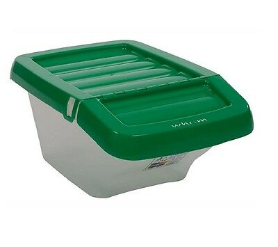 30L Liter Plastic Recycle Stackable Recycling Box Hinged Lid Laundry Waste Bin