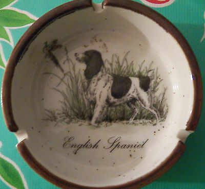Vintage Ashtray Bowl Dish Dog English Springer Spaniel Sporting Dog