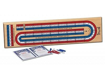 CRIBBAGE BOARD GAME Bicycle with deck of playing cards strategy tactics teaser