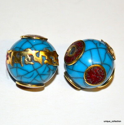 BD-27 Handmade Nepalese Tibetan Ethnic Tribal Coral Inlaid Resin Brass Beads x 2