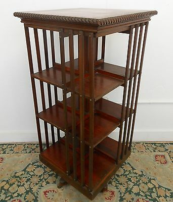 Antique Marked Danner Mahogany Revolving Bookcase