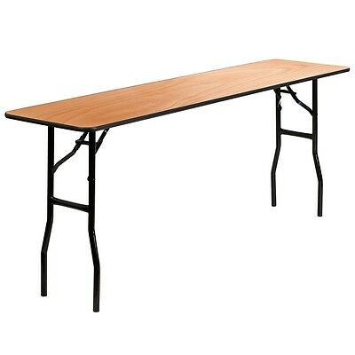 18''X 72'' Wood Folding Training, S​eminar Table w/ Smooth Clear Coated Finish