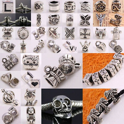 Tibetan Silver Rondelle European Beads Fit Charms Bracelet Animal Flower Hearts