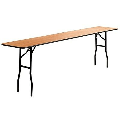 """18"""" x 96"""" Wood Folding Training, Seminar Table w/ Smooth Clear Coated Finished"""