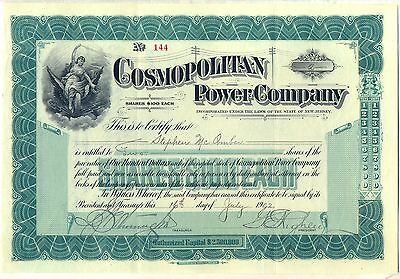 Cosmopolitan Power Company Stock Certificate New Jersey