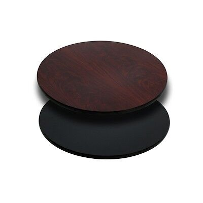 24'' Round Restaurant Table Top with Black or Mahogany Reversible Laminate Top