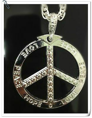 Silver Peace sign Necklace, Bling Chain ,Fancy Dress