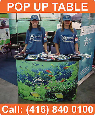 Trade Show Pop Up Podium Banner Stand Counter Display Table + FREE GRAPHICS