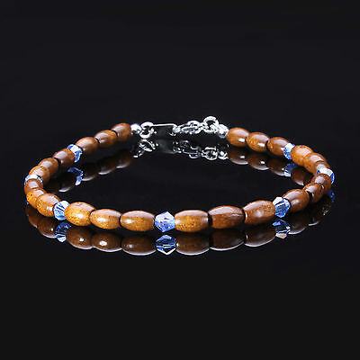 Swarovski Crystal and Wooden Bead Anklet