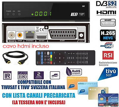 SOLO DECODER SATELLITARE HUMAX 6800S TV TIVù TIVU' SAT HD PVR NO SENZA TESSERA
