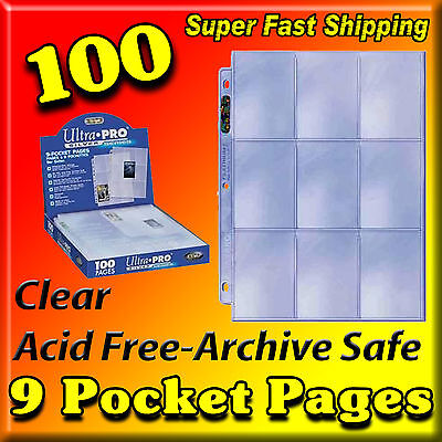 100 Ultra Pro Silver 9-Pocket Sports Card Pages Baseball For Binder Coupons