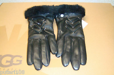 UGG CAILYN FASHION BLACK LEATHER SHEARLING GLOVES sz S NEW WITH TAG