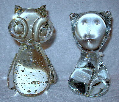 Clear Blown Glass Control Bubble Owl and Clear Blown Glass Cat Paperweights
