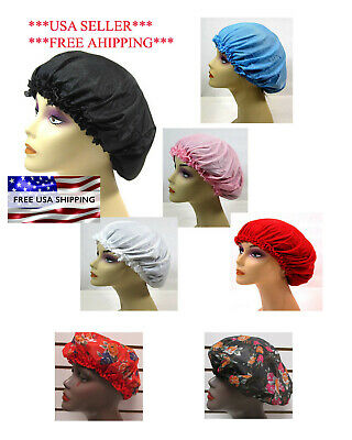 Lot Of 3 --X Large  Satin Sleep Cap   Elastic- Blk,white,red,blue,pink  Lh1202
