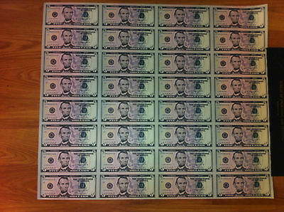 $5 UNCUT SHEET $5X32 Legal USA $FIVE  DOLLAR-Real Currency Note /Rare Money GIFT