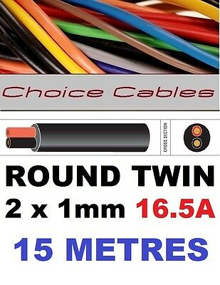 ROUND TWIN AUTO CABLE 2 CORE 1.0mm 16.5 AMP CAR BOAT LOOM WIRE, MARINE CABLE 15m
