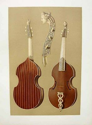 "1888 Fine Art Chromolitho THE TIELKE ""CADUCEUS"" VIOLA DA GAMBA Exquisite Carving"