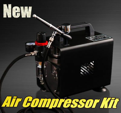 1/6HP Mini Air Compressor Kit. Inbuilt Airbrush holder One Year Warranty
