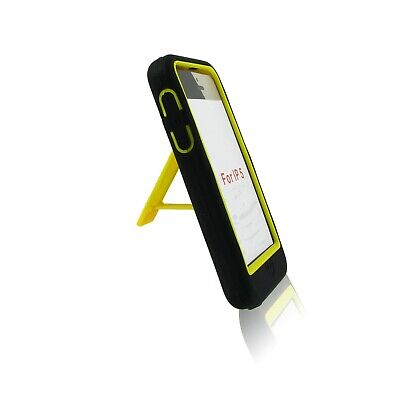 Black Yellow Case Armor Defender Hybrid Cover Kick Stand For Apple iPhone 5S SE