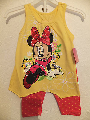 New Disney Minnie Yellow & Pink 2-6Yr  Cotton Jersey Dress & Leggings Outfit Set