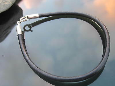 Genuine Black Leather 3mm Cord Bracelet with Sterling Silver Ends and Clasp