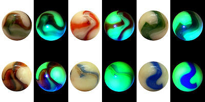 "25mm (1"") Bi-COLOUR OPAQUE VASELINE GLASS MARBLES - VERY RARE AND AMAZING"