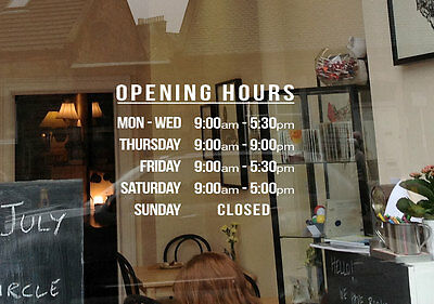 Custom Shop Decal Sticker Opening Trading Business Hours Commercial Window Wall