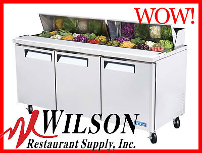 TURBO AIR 3 Dr Sandwich Salad Prep Table MST-72 Pizza Commercial Refrigerated!!