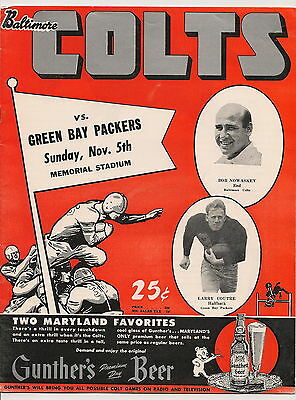 1950 Baltimore Colts-Packers Program Colts Only Win  RARE!!