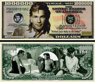 PATRICK SWAYZE - BILLET DE COLLECTION 1 MILLION DOLLAR US ! Dirty Dancing Ghost