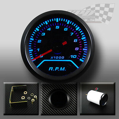 """REV COUNTER TACHO RPM GAUGE BLUE LED SMOKED DIAL FACE WITH BLACK RIM 52mm 2"""""""
