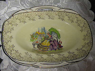 Crinolin Lady , Portland Pottery Ltd ,dished Out Plate Very Nice *in Australia*