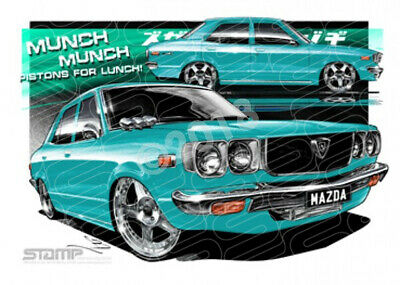 Imports Mazda RX3 TURQUOISE  FRAMED PRINT (S012C)-New_Itemq