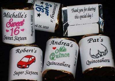 Sweet 16 Super 16 Sixteen ~ Nugget Candy Wrappers Birthday Favors ~ Personalized