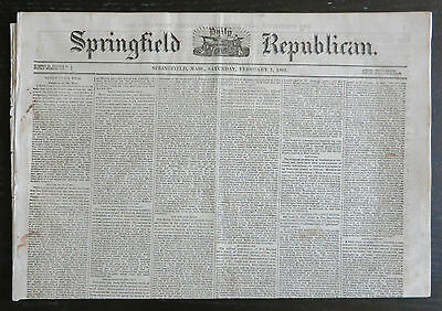 February 7, 1863 SPRINGFIELD REPUBLICAN Daily Newspaper - Civil War