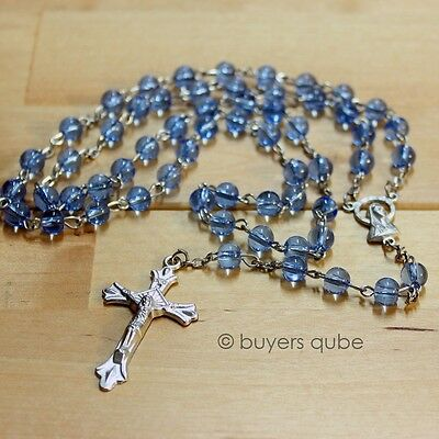 """Blue Round Glass Beads Rosary 20"""" Length w/ Enlarged Mother Mary Medal"""