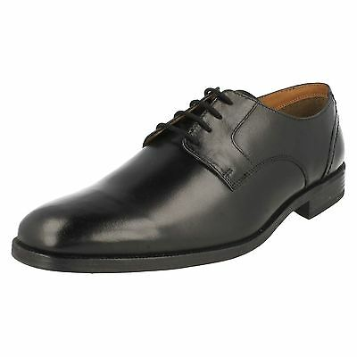 Mens Clarks Black Leather Lace Up Shoe Style - Bakra Spring G Fit
