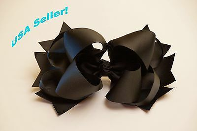 """Large Black Boutique Layered Hair Bows 8"""" inch"""