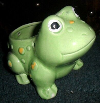 Cute Little Yellow Spotted Green Frog Planter Could be a Hanger Nice LOOK L4